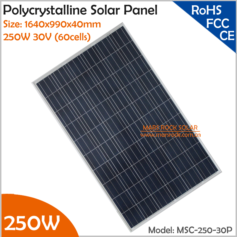 1640x990x40mm High Quality 250W 30V (60cells) Polycrystalline Solar Panel for Grid Tie or Off Grid Solar Power System(China (Mainland))