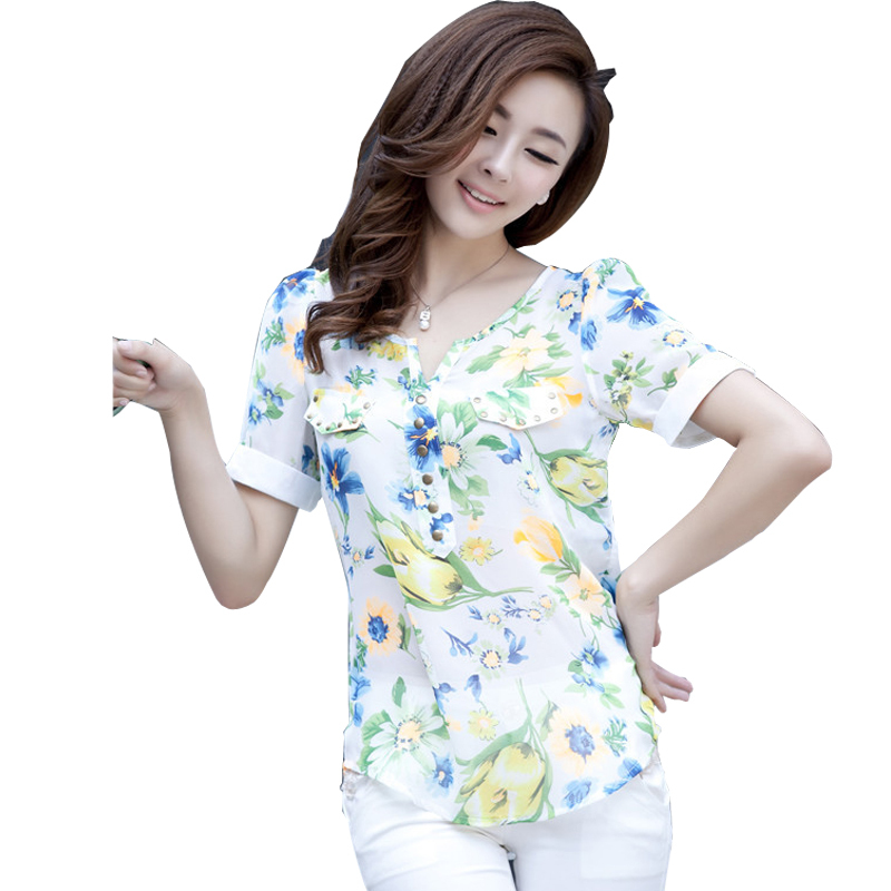 Women'S Short Sleeve Chiffon Blouse 102