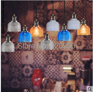 Candy-colored Crystal Glass Shade Cord Pendant Lights Single Head Light Scandinavian Modern Restaurant Bar Creative Fashion Lamp - DGY Indoor Lighting store