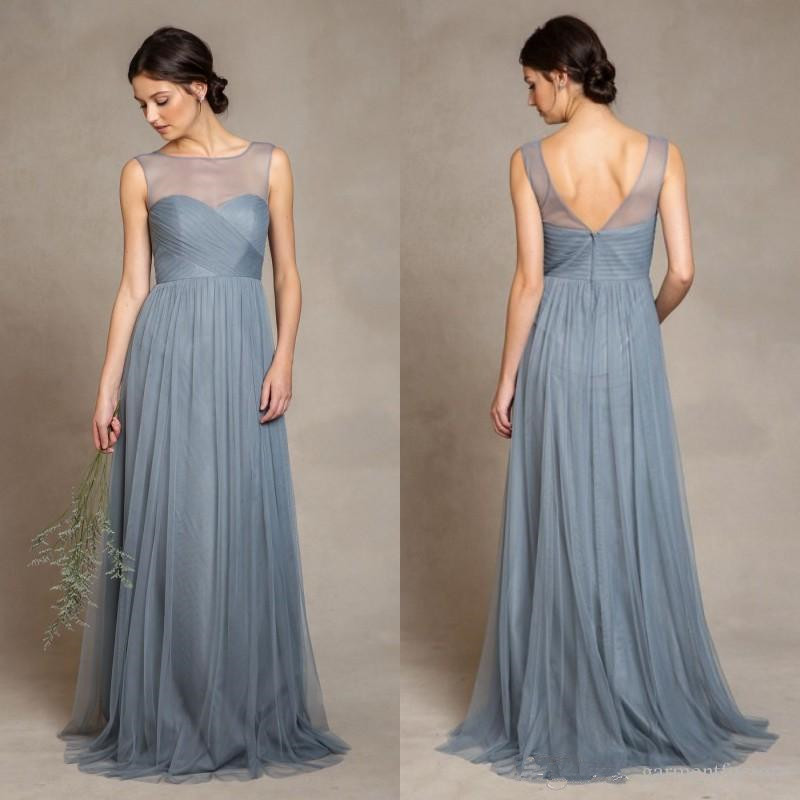 Elegant dusty blue tulle bridesmaid dresses 2016 illusion for Maid of honor wedding dresses