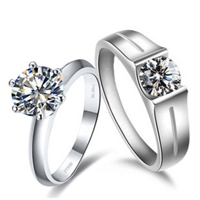Solid Gold Couple Rings Genuine Brand Lovers Jewelry 2CT SONA Synthetic Diamond Coulpe Jewelry 14K White Gold Solitaire Jewelry(China (Mainland))