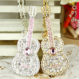 Guitar USB Flash drive Gift crystal Rhinestone Girls Lovers pendrive 8GB pen drive Lady gift pendrives in Gift boxes pass h2test(China (Mainland))