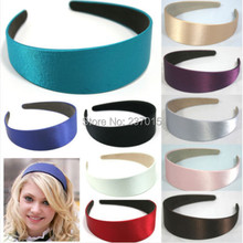5pcs Free Shipping Candy Color Girl Lady Plastic Wide Headband Hair Band Accessory Satin Headwear New(China (Mainland))