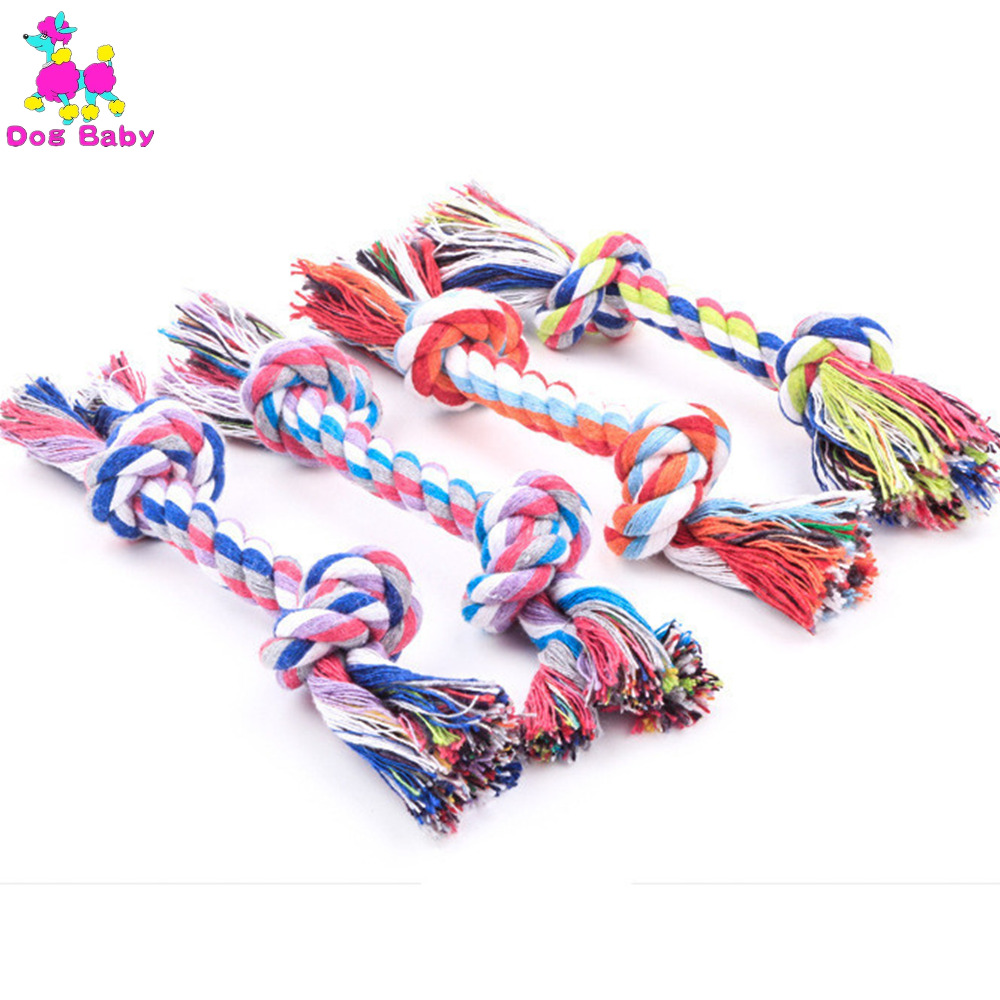 Dog Toys Double Knot Cotton Rope Pet Toy Soft Hand Knitting Cat Dogs Training Colourfast Gnaw Small Size Provide High Quality(China (Mainland))
