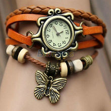Chic Retro para mujer pulsera de cuero de la mariposa decoración del cuarzo del reloj