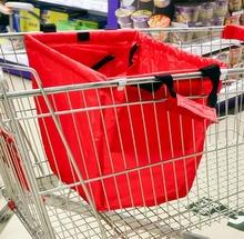 SMILE MARKET FREE SHIPPING Large capacity Foldable Trolley Supermarket Green Shopping Bag(China (Mainland))