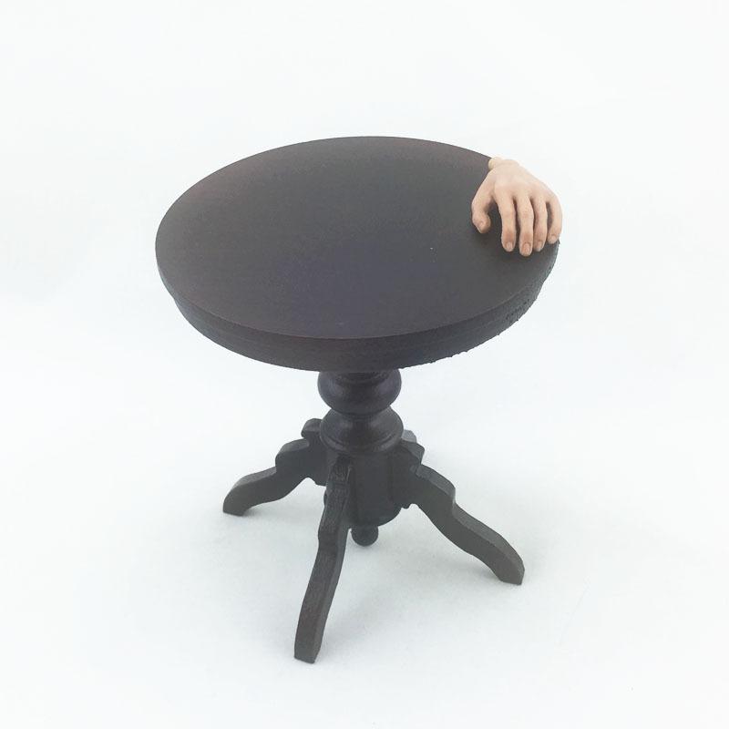 woodenface Dark wood little round table Furniture scene 1/6 Scale Model /  in-