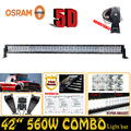 ForOsram 5D 560W 42 Combo LED Work Light Bar Straight External Car Lights Truck Trailer SUV