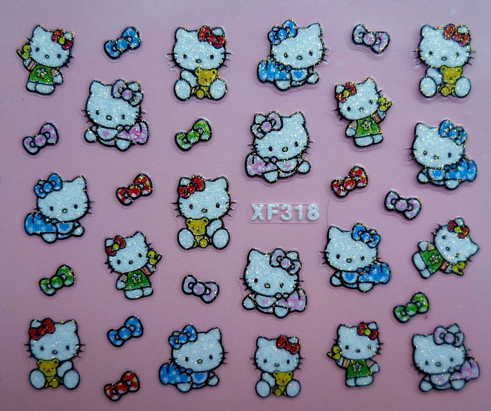 Wholesale 3D Nail Stickers Decal Beauty Cute Cats Butterfly Knot Decoration Design French Manicure Foil Tools Stamping(China (Mainland))