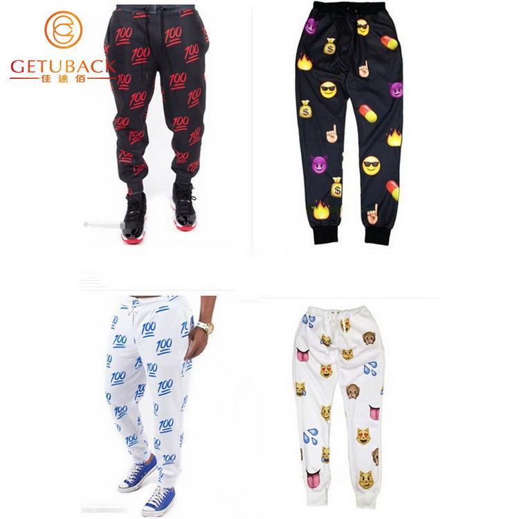 2015 nueva primavera y otoño Emoji joggers S XL hombres pantalones pantalones de chándal ropa deportiva moda hombre pantalones ropa prendas de vestir