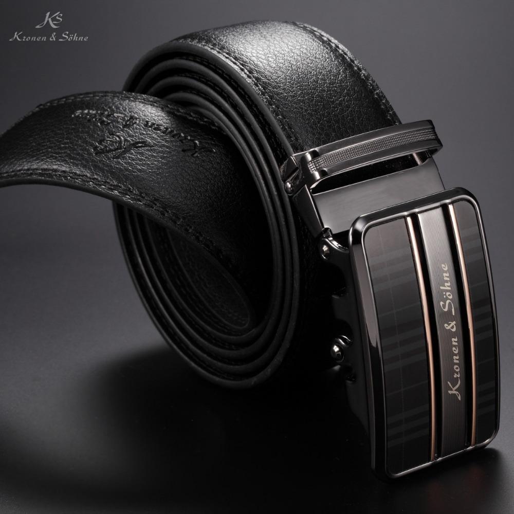 2014 KS Brand New High Quality Black Luxury Steel Buckle Designer Belt Cardboard Box Package Genuine Leather Men Belts / KB065(China (Mainland))