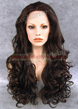Free Shipping Auburn Brown Mix Color Heat Resistant Body Wavy Synthetic Lace Front Wig