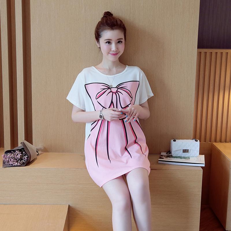 Nice Printing Jersey Dress Maternity Short Sleeves O-neck Guangzhou Factory Fashion(China (Mainland))