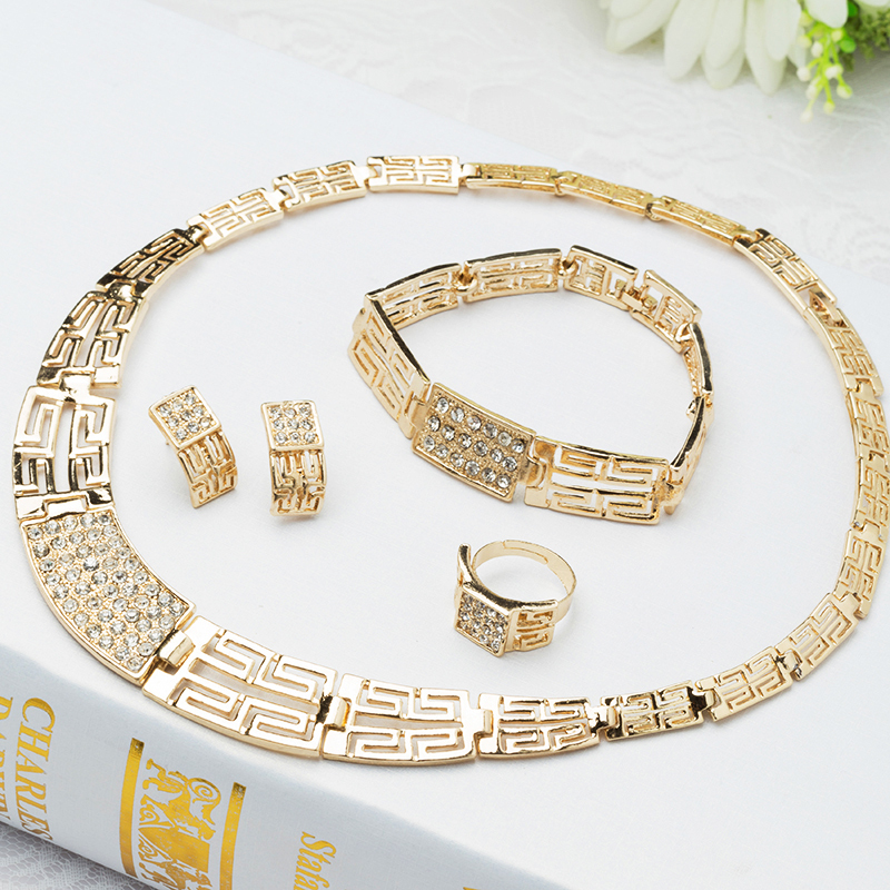 , Fashion Design Gold Jewelry Set Bling Plated African Costume Necklace J051 - Verynice store