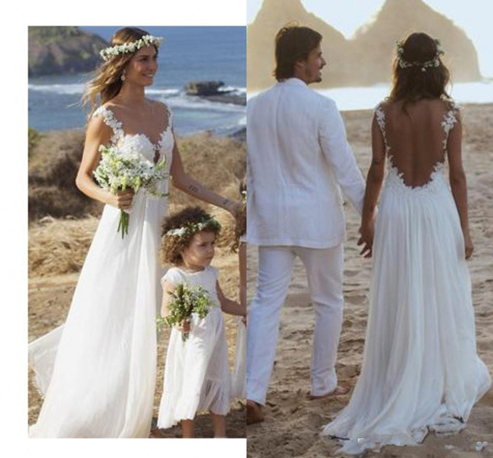2015 Elegant Design Backless Lace Chiffon Beach Wedding Dresses Bridal Gowns Custom Made Size 2 4 6 8 10 12 14 16 18++ W438(China (Mainland))