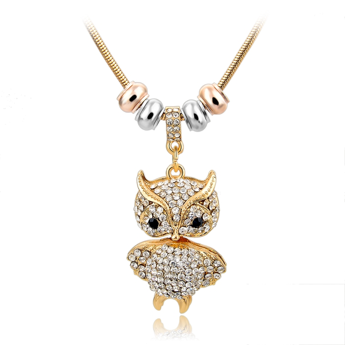 2015 Fashion Crystal Owl Necklaces Pendants Gold Silver Snake Chain Necklace Jewelry Vintage Statement Necklace Women SNE150769(China (Mainland))
