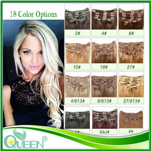 Human Hair Clip In Extensions 16'' 18'' 20'' 20'' 22'' Brazilian Clip In Extensions Remy Human Hair Clip Ins 8pcs/set Peruvian(China (Mainland))