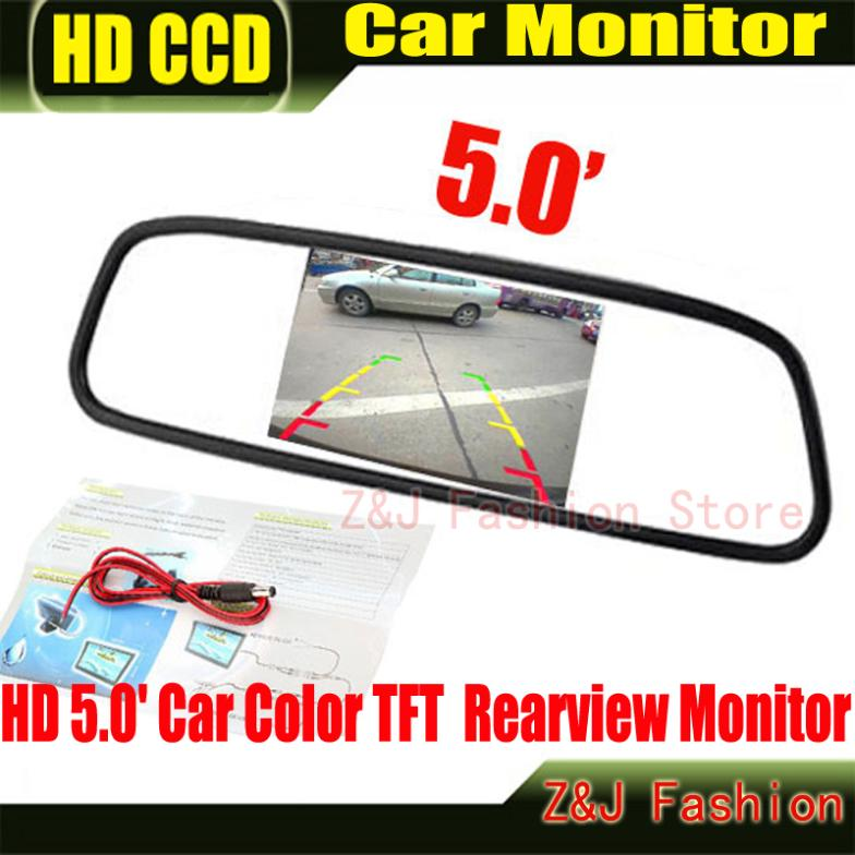 "Factory Selling HD Monitor 5"" Color TFT LCD Car Rearview Mirror Monitor 5 inch 16:9 screen DC 12V Car Monitor for DVD Camera VCR(China (Mainland))"