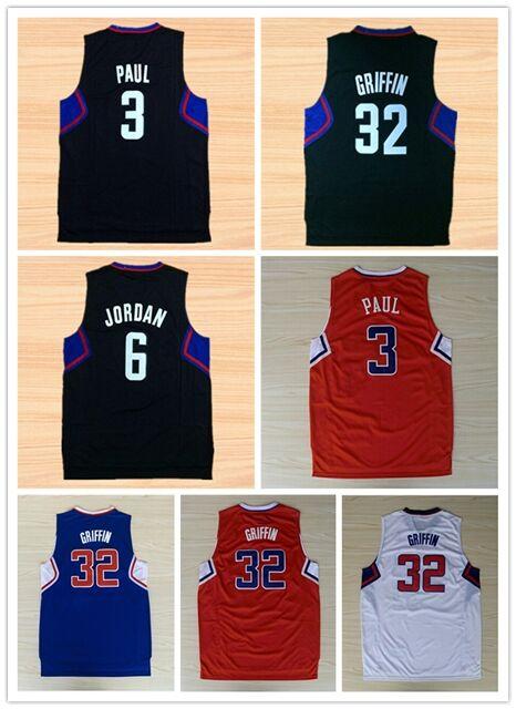 2016 New Chris Paul Jersey,#32 Blake Griffin Basketball Jerseys,#3 Chris Paul Shirt Black Fast Free Shipping(China (Mainland))