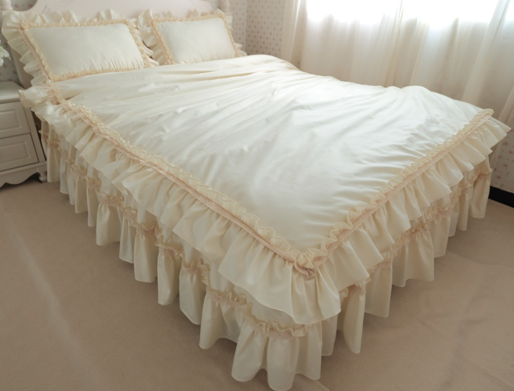 Luxury Elegant beige Creamy Embroidery Lace Ruffle Duvet Cover Bedding Set KING QUEEN X-LONG SIZE lace home princess bedskirt(China (Mainland))
