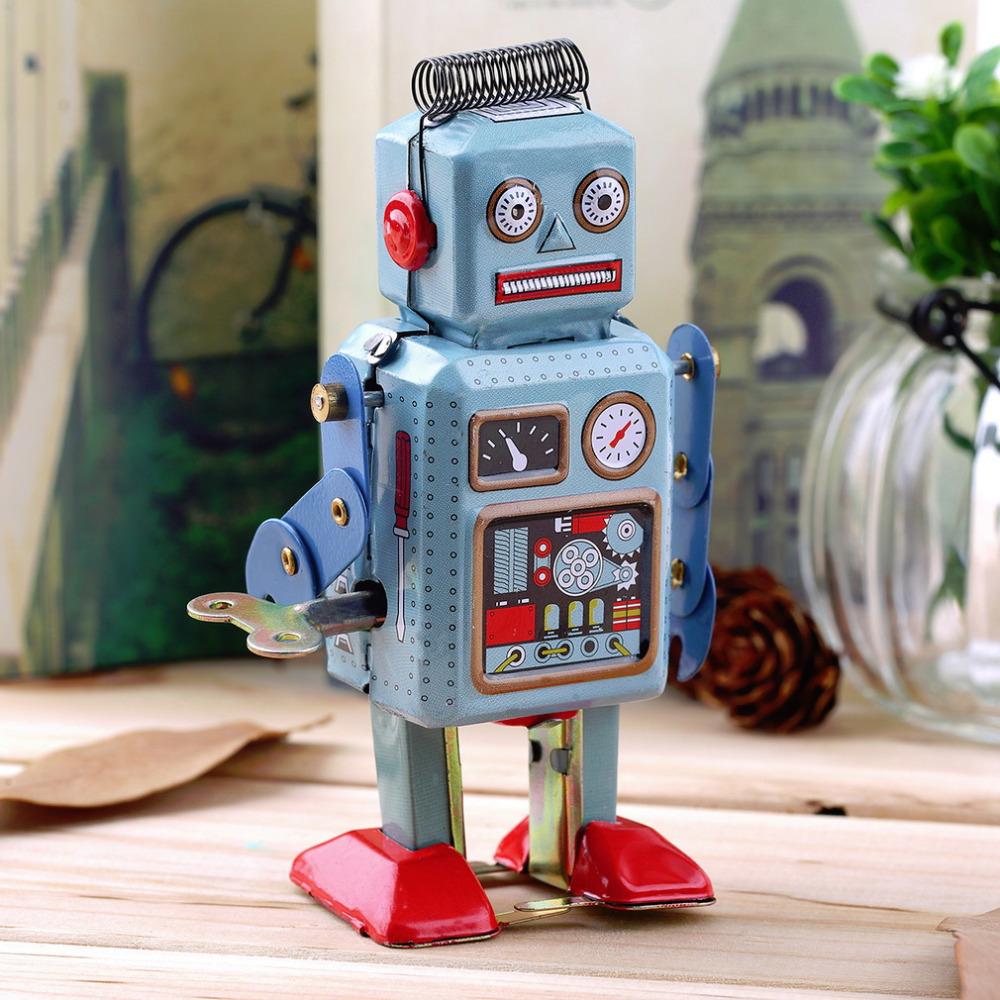 1pcs Vintage Mechanical Clockwork Wind Up Metal Walking Robot Tin Toy Kids Gift Hot Worldwide(China (Mainland))