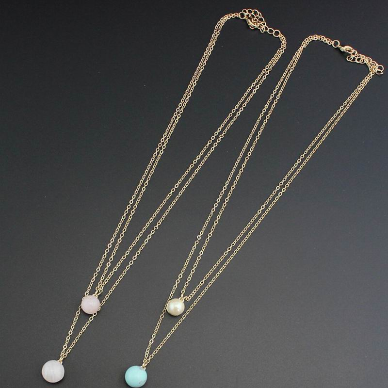 Hot fashion double chain imitation Pearl and turquoise ball long pendant necklace simple tiny jewelry Accessories YN204(China (Mainland))