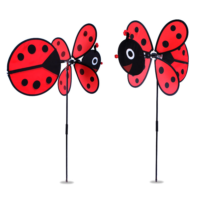 DIY ladybug windmill 36*80cm Classic Toys solids multicolors Wind Spinner Whirligig Garden Windmill plastic Toy(China (Mainland))