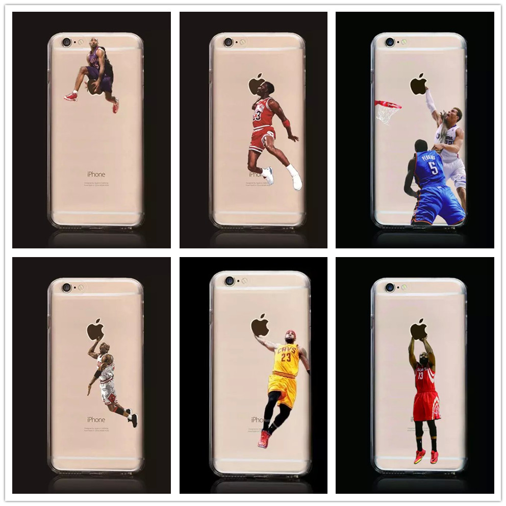 New Kobe Bryant Stephen Curry Basketball Stars Case for iPhone 6s Michael Jordan LeBron James Soft TPU Cover for iPhone 6(China (Mainland))