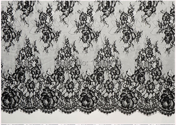 59quoteyelash rose black lace chantilly lace fabric by yard
