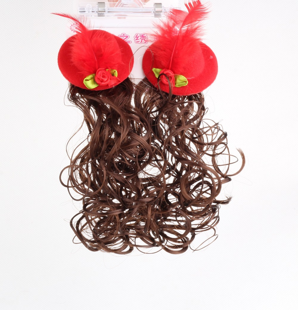 1 pair summer style Synthetic Curly Wavy Clip kids accessories False wig Hair Extension Fake Tress Hairpieces brown hair clip(China (Mainland))
