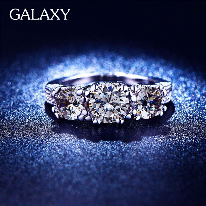 New Trendy Real 18K White Gold Filled Ring Set 1 5 Carat CZ Diamond Engagemen