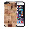 For iPhone6 6s Case Fashion Retro 2 in 1 Wood Skin Plait Pattern Phone Case for