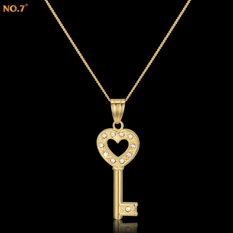 Romantic Heart Key Pendant Necklace Women Zirconia Jewelry Brand New Trendy 18k Gold Plated Pendant Necklaces Ethnic Accessories(China (Mainland))