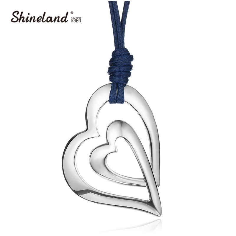 Shineland Trendy 3 Style Love Heart PU Leather Chain Vintage Antique Silver Color Drawing Long Necklace Statement Women Jewelry(China (Mainland))