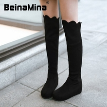Mujeres planas sobre la rodilla botas damas moda de equitación largo bota de la nieve invierno cálido marca botas mujer calzado zapatos P19365 tamaño 34-39(China (Mainland))