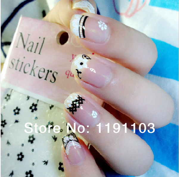 free shipping 5 x Sparkling 3D Nail Art Sticker Decal Flower Makeup Tips(China (Mainland))