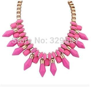 product Hot Statement Jewelry Big Magazine Article Punk Necklace Droplets Rhinestone Necklace Choker Charm Necklace JW-40