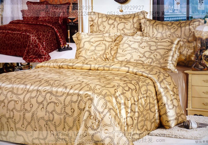 Geometry brown camel Natural mulberry silk bedding set king size queen quilt duvet cover bed in a bag sheets bedspreads bedsheet(China (Mainland))