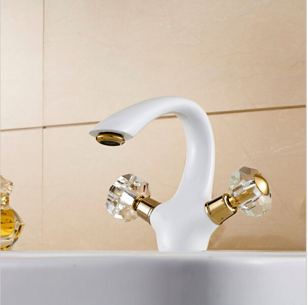 Elegant Deck Mount Two Cristal Handles Basin Faucet White & Gold Bathroom Sink Mixer Tap w/ hot and cold water(China (Mainland))