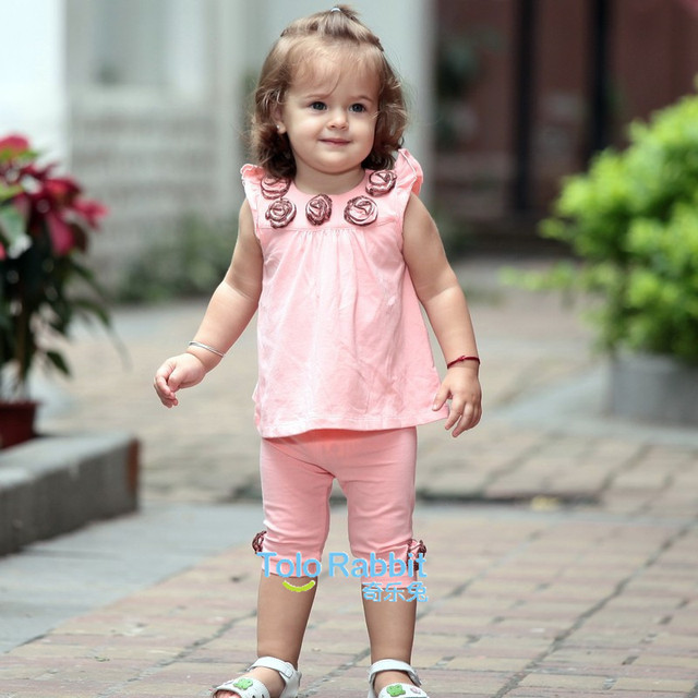 Resale Fashion Cute Baby Girl Wear Summer Kids Clothing Sleeveless Cotton 2PCS Rose Clothes Set T-shirt + Pants Free Shipping