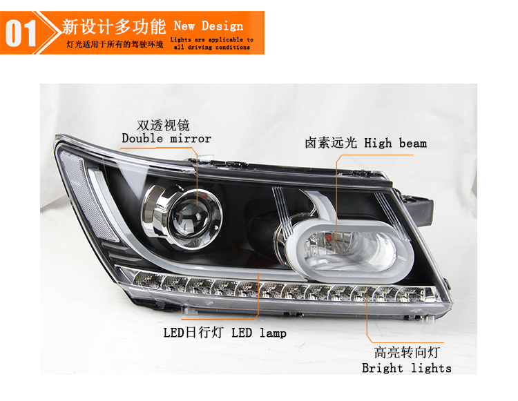 Auto Clud Car Styling for Fiat Freemont LED Headlight JCUV Headlights LED DRL Lens Double Beam H7 HID Xenon bi xenon lens