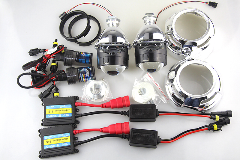2.5 inch HID Bixenon H1 Projector Lens Headlight Full Kit with Cayenne 3.0 inch Shround with 55w HID Lamp and Ballast(China (Mainland))