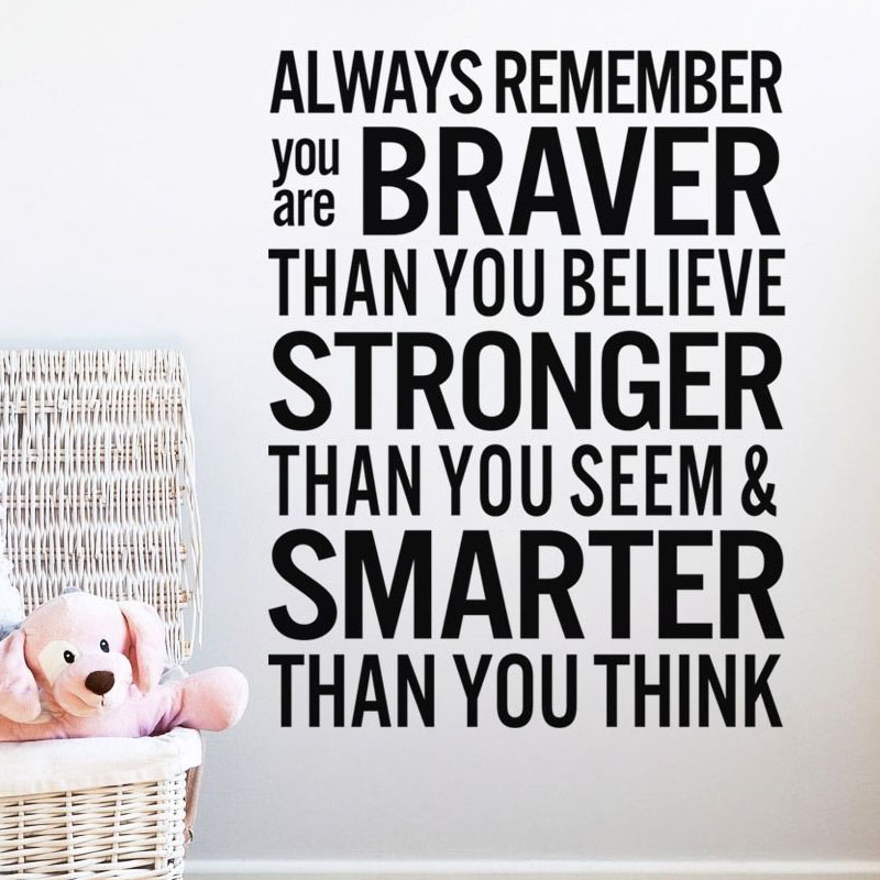Always Remember You Are Braver Living Room Wall Sticker Inspiring Text Quotes Self Adhesive Vinyl Removable Home Decor