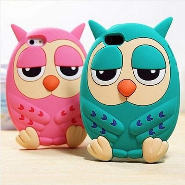 New Hot Fashion 3D soft rubber pretty cute cartoon owl shape phone case cover For iphone 4 4s 5 5s 6 6s 6Plus(China (Mainland))