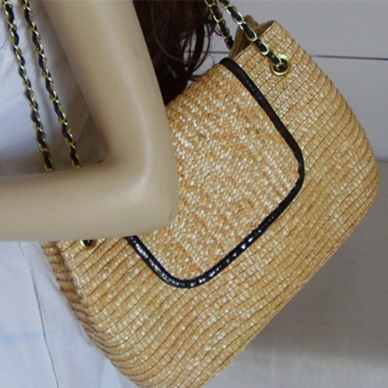 2016 Cheap Personalization innovation Chain Zip rattan weaving cover solid bag Lady Beach handbags shoulder bag daily used Beige(China (Mainland))
