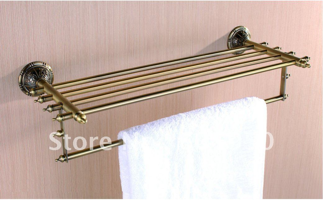 Free Shipping Wall Mounted Antique Brass Bathroom Towel Rack Wholesale 1303 In Bathroom