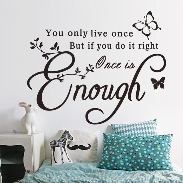 Достаточно один раз творческий котировки бабочка стикер стены вдохновляющие наклейки на стены украшения дома обои