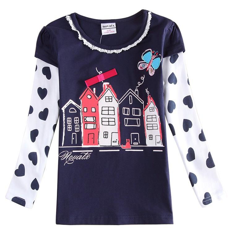 Girl spring autumn t shirt children long sleeve 100% cotton clothing t shirt for girls nova kids wear t shirt for girls F6573
