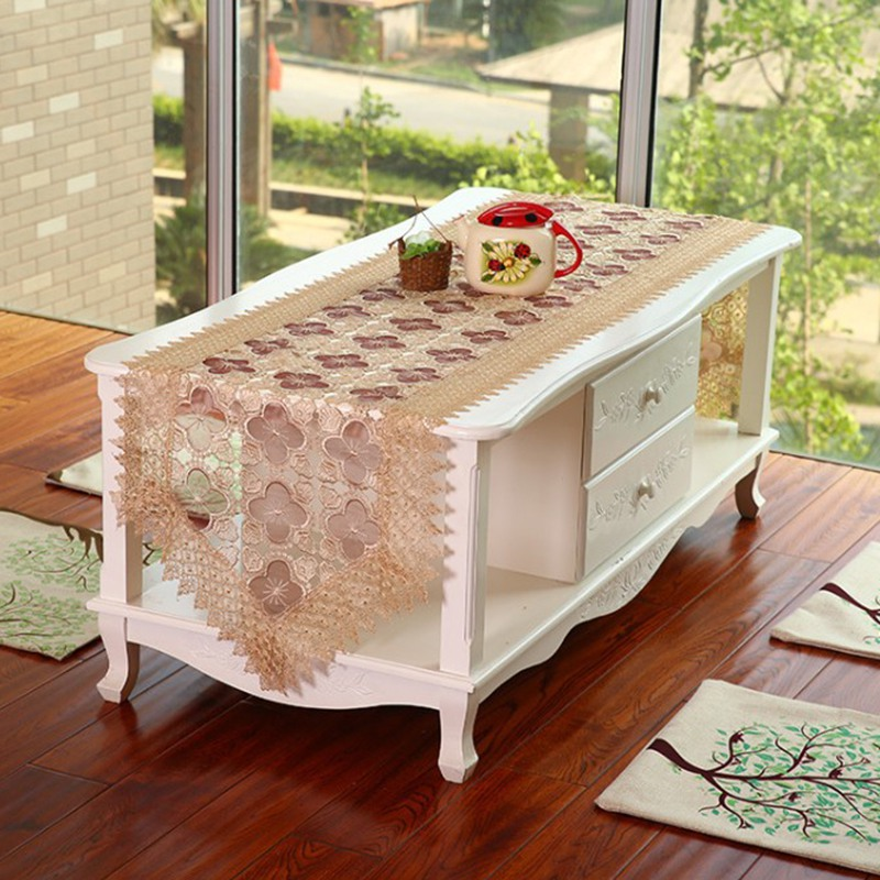 Classical Organdy Table Runner Embroidered Hollow Out Coffee Table Cloth Home Decor Free Shipping(China (Mainland))