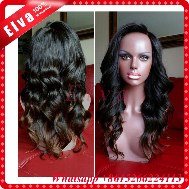 7A Ombre Lace Wig Glueless Full Lace Wigs Ombre Lace Front Human Hair Wigs Two Tone Color Loose Wave Ombre Human Hair Wig